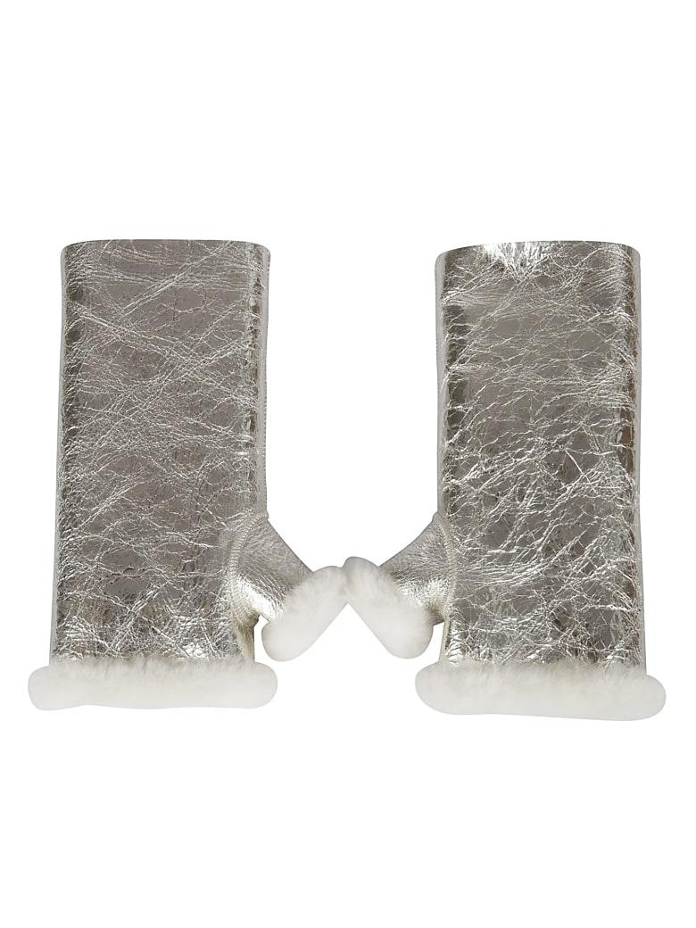 Yves Salomon Fur Detail Gloves - Light Gold/Ivory