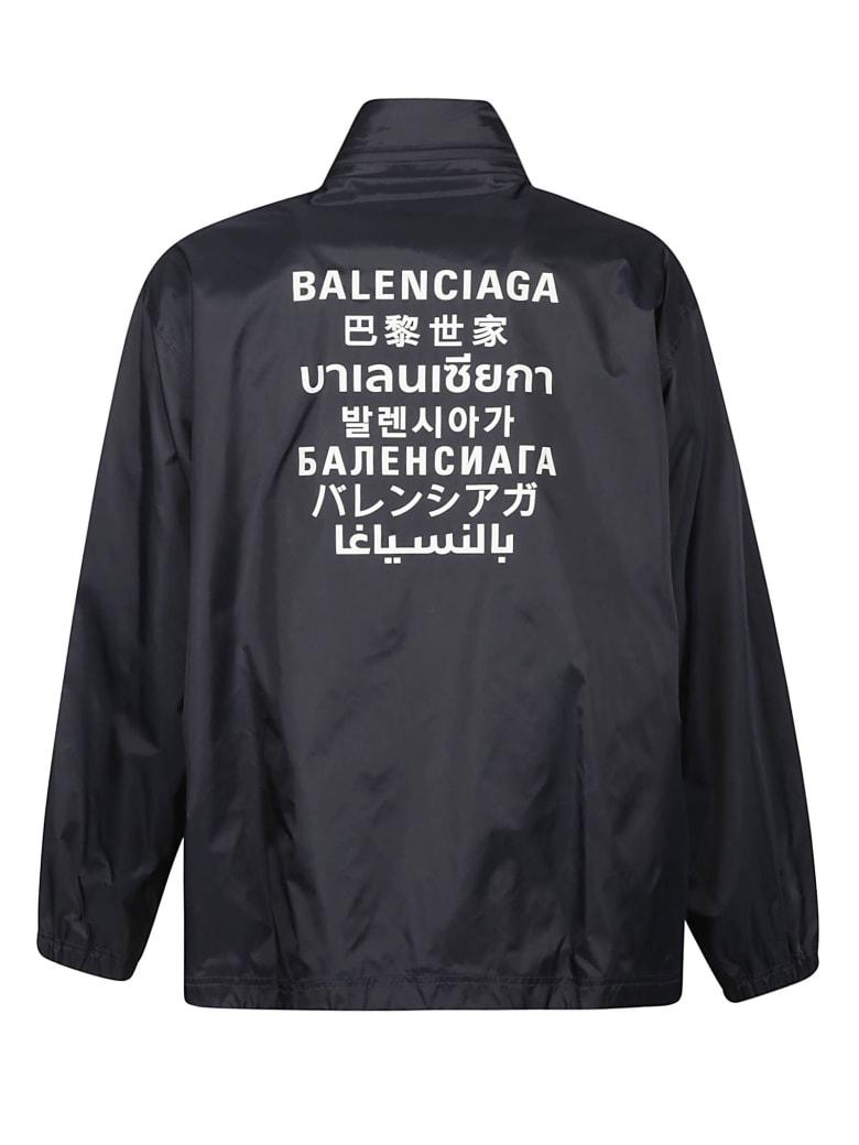 Balenciaga Back Logo Print Windbreaker - Blu