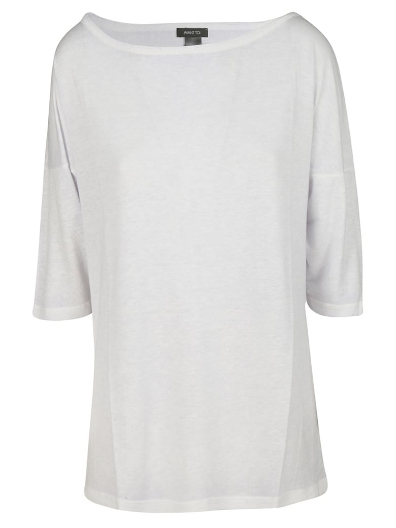 Avant Toi Boat Neck Top - Grey