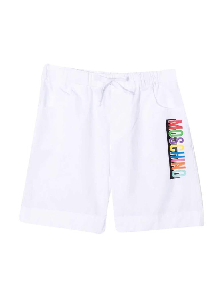 Moschino White Bermuda With Multicolor Print - Bianco