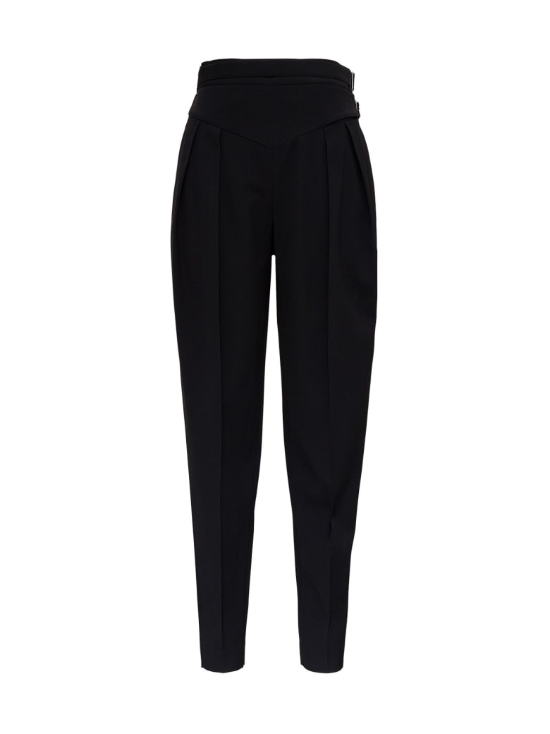 RED Valentino High Waisted Pants In Viscose Blend With Double Belt - Black