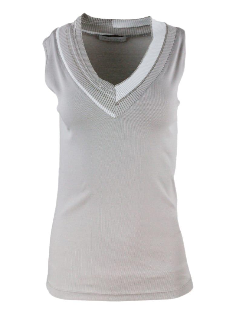 Fabiana Filippi V-neck Sleeveless T-shirt With Monili - Beige