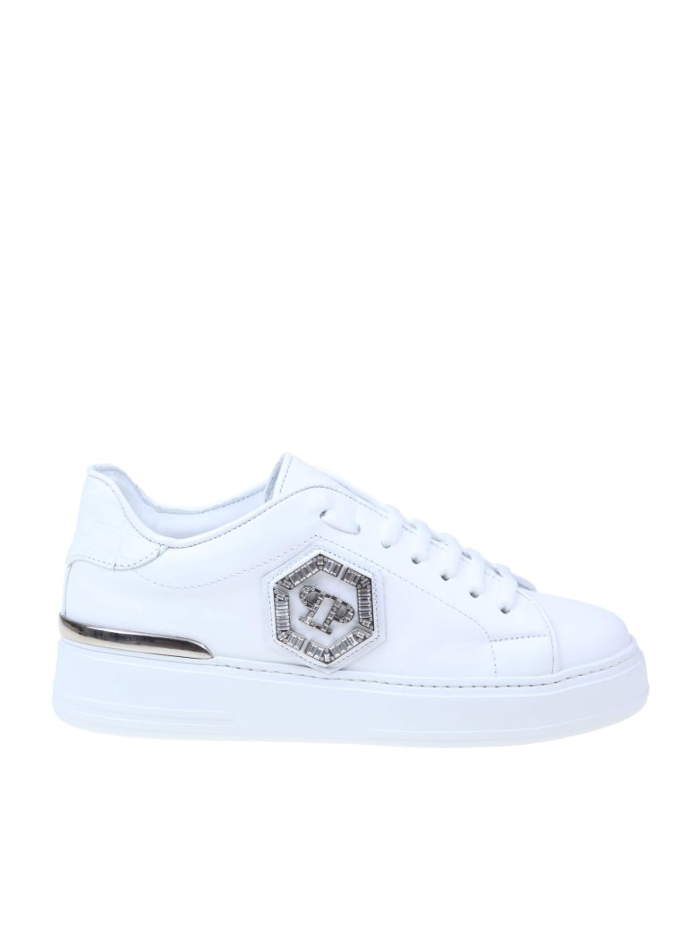Philipp Plein Lo-top Sneakers With Studs In White Leather - White