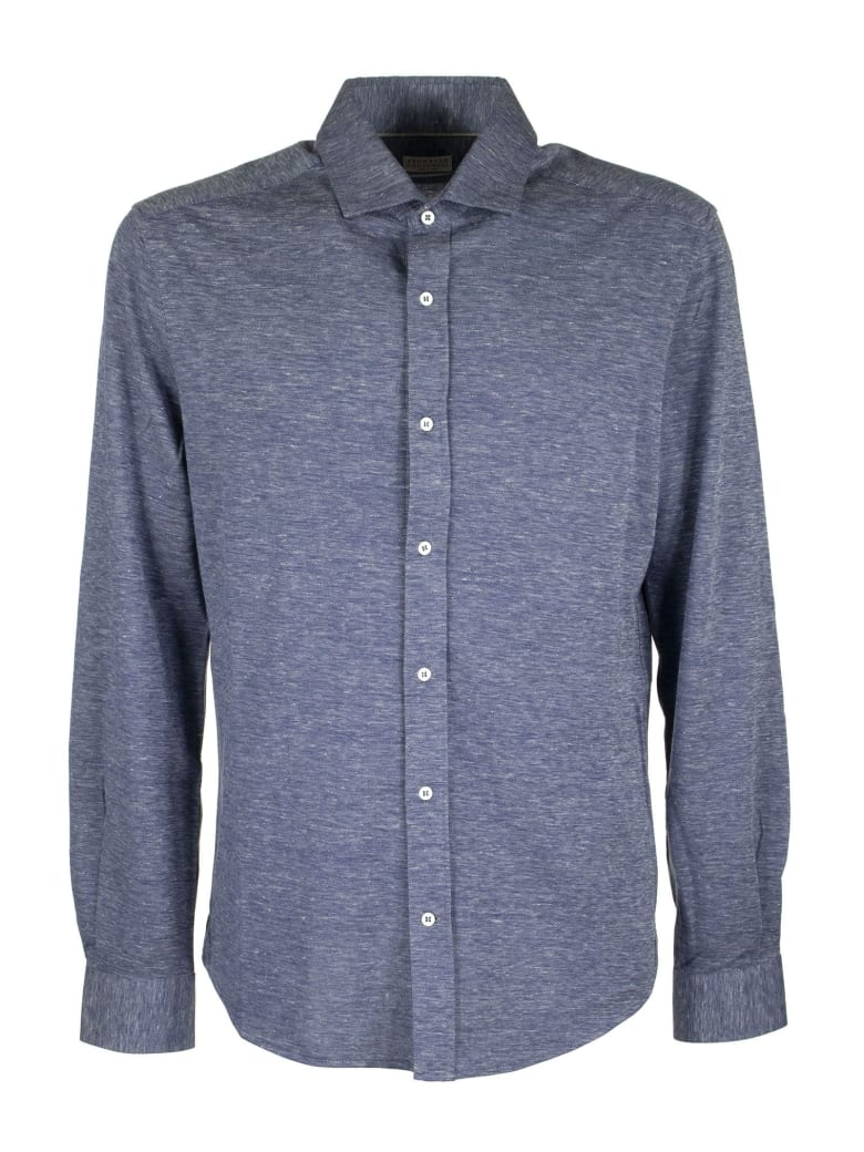 Brunello Cucinelli Buttoned Shirt Slim Fit Shirt In Light Cotton And Linen Jersey - Blue