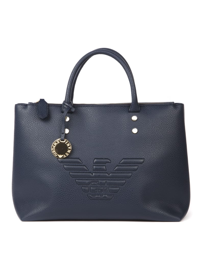 Emporio Armani Embossed Logo Blue Eco-leather Bag - Zen blue