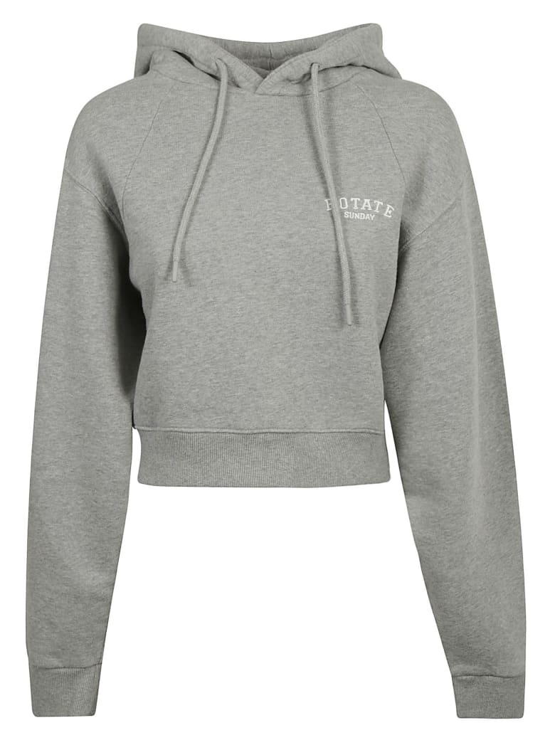 Rotate by Birger Christensen Cropped Hoodie - Grey Mélange