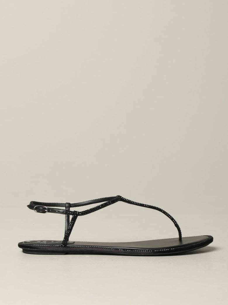 René Caovilla Rene Caovilla Flat Sandals René Caovilla Leather Sandal With Rhinestones - black