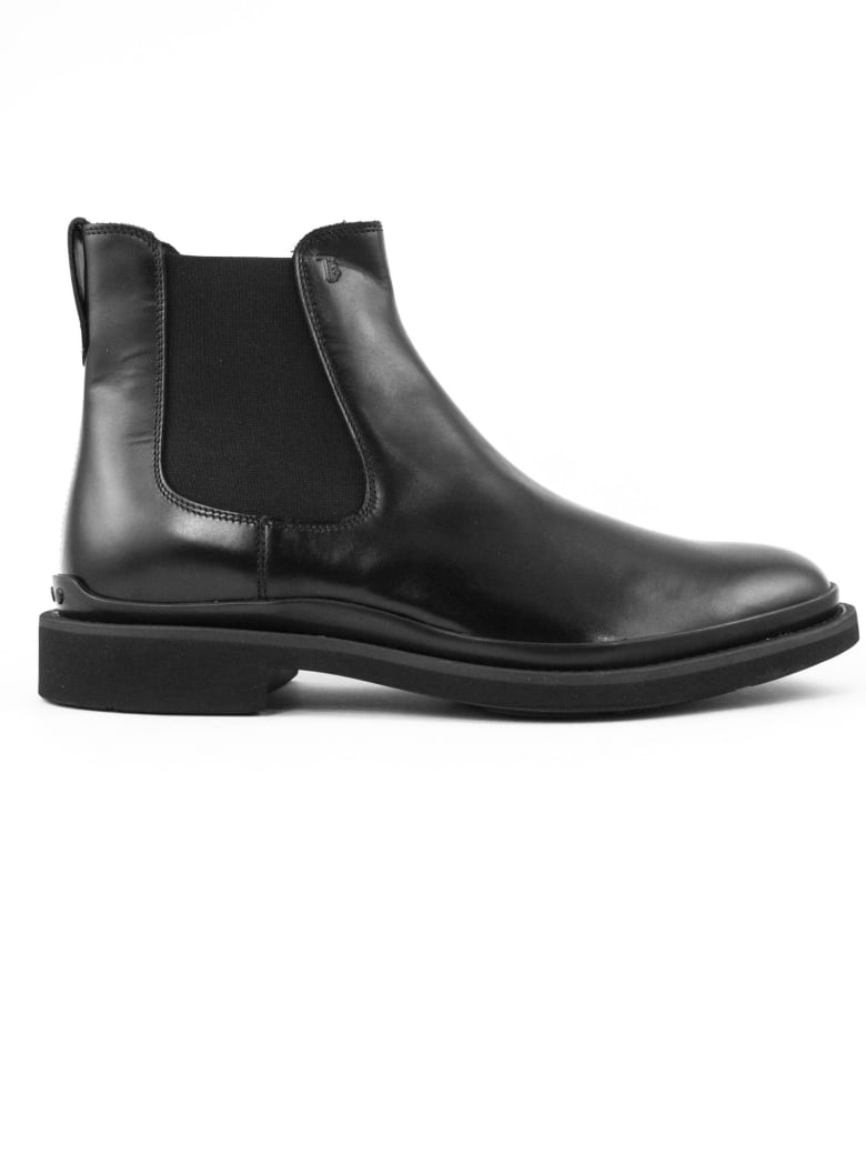 Tod's Ankle Boots In Black Shiny Leather - Nero