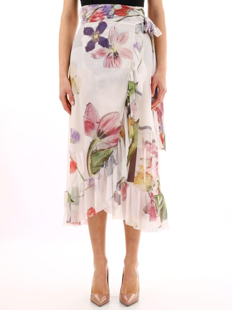 Ganni Floral Skirt - White