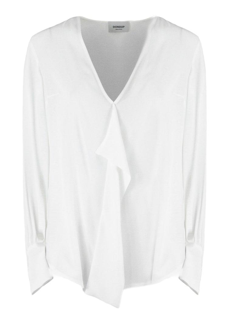 Dondup White Silk Blend Blouse - Bianco