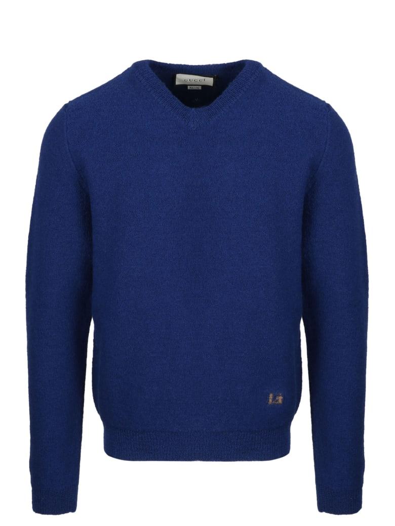 Gucci G V Neck Sweater - Blue