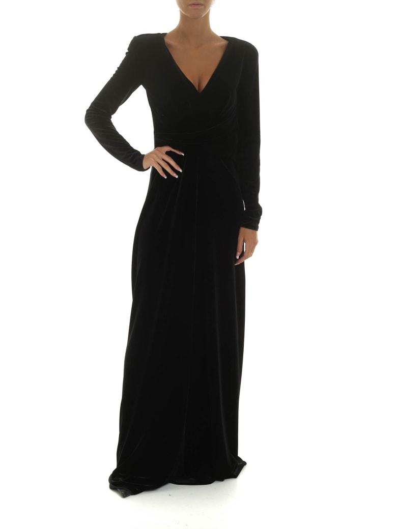 Emporio Armani Long Velvet Dress - NERO