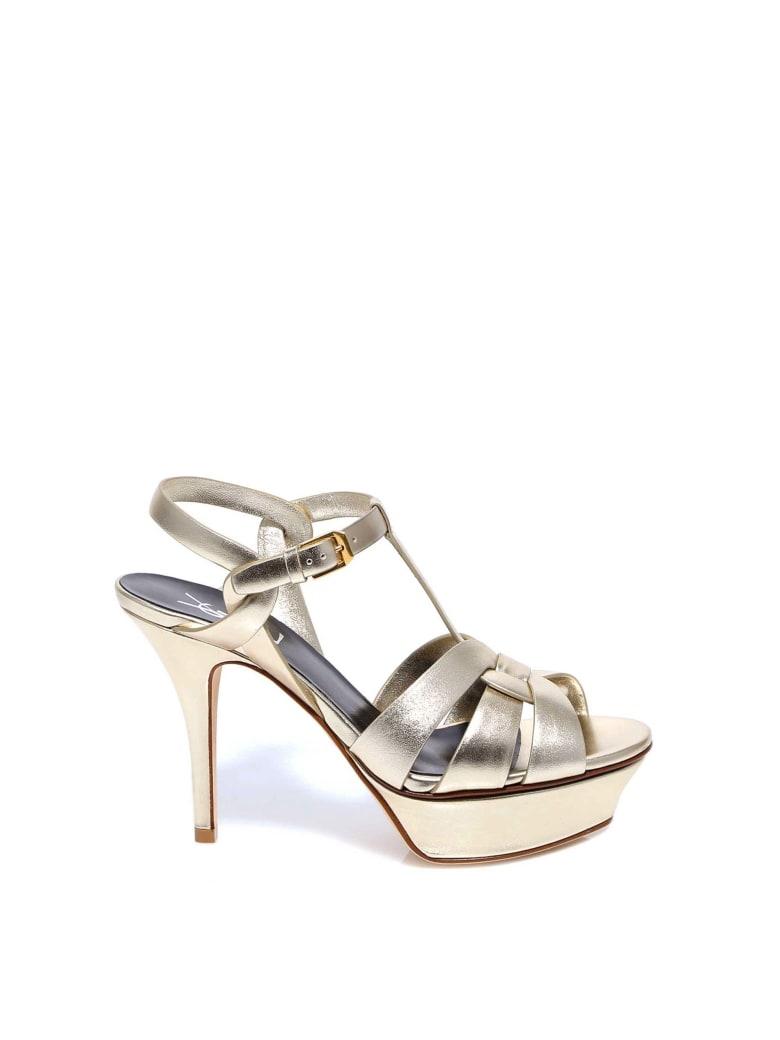 Saint Laurent Tribute Sandals - Gold