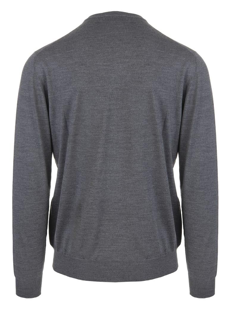 Fedeli Asphalt Grey V-neck Man Pullover - Asfalto