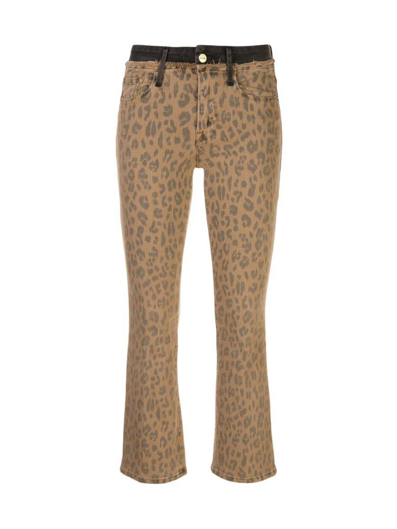 Frame Leo Le Crop Mini Boot Spring Cheetah Contrast - Cheetah Cargo Beige Black