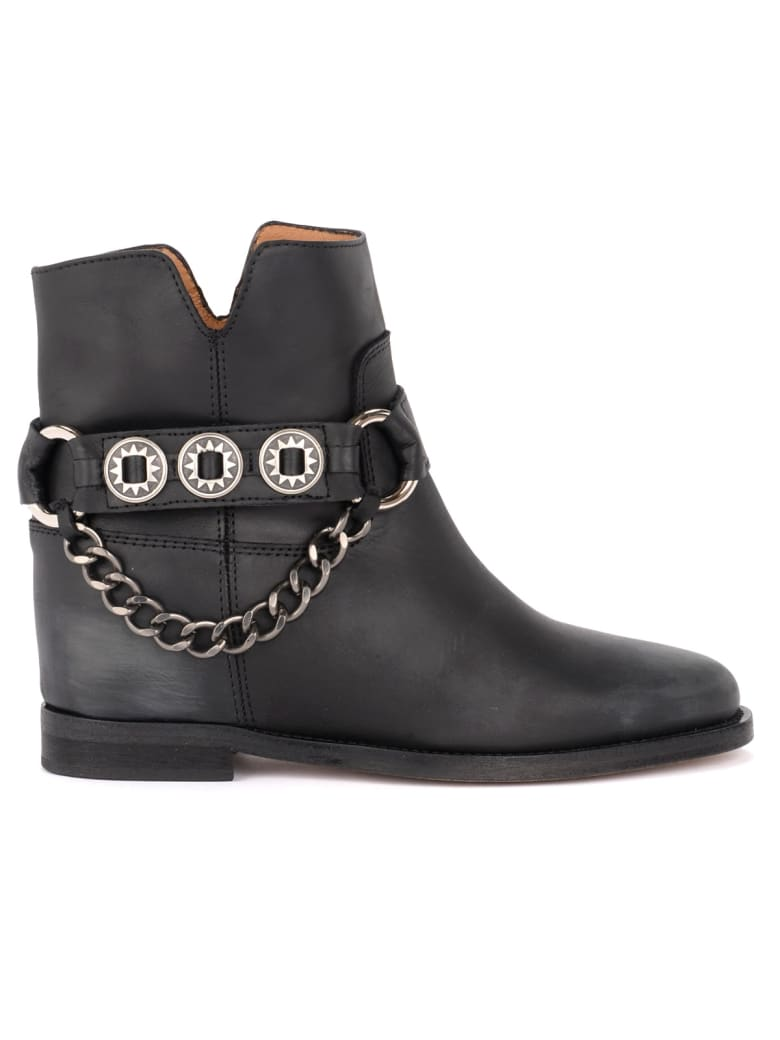 Via Roma 15 Black Leather Boot With Side Accessory - NERO