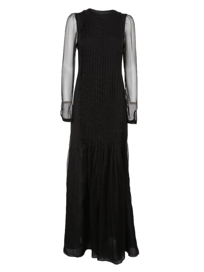 Rochas Sheer Panel Dress - Black