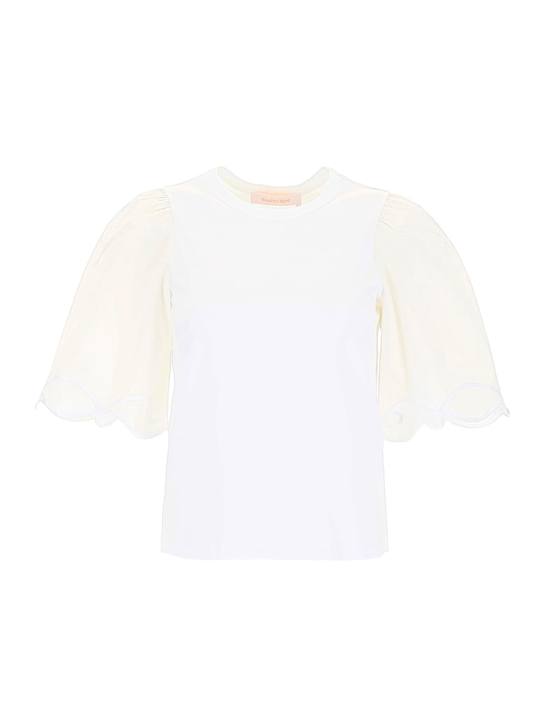 See by Chloé Embroidered T-shirt - WHITE POWDER (White)