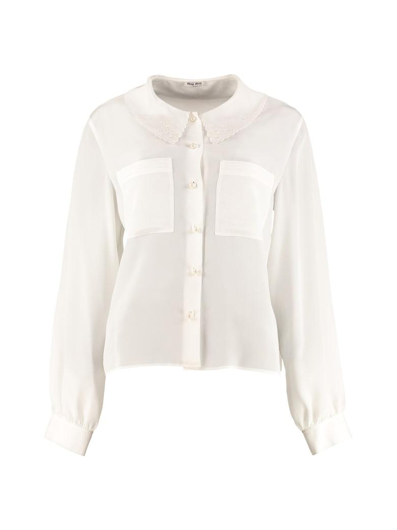 Miu Miu Long-sleeved Silk Shirt - White