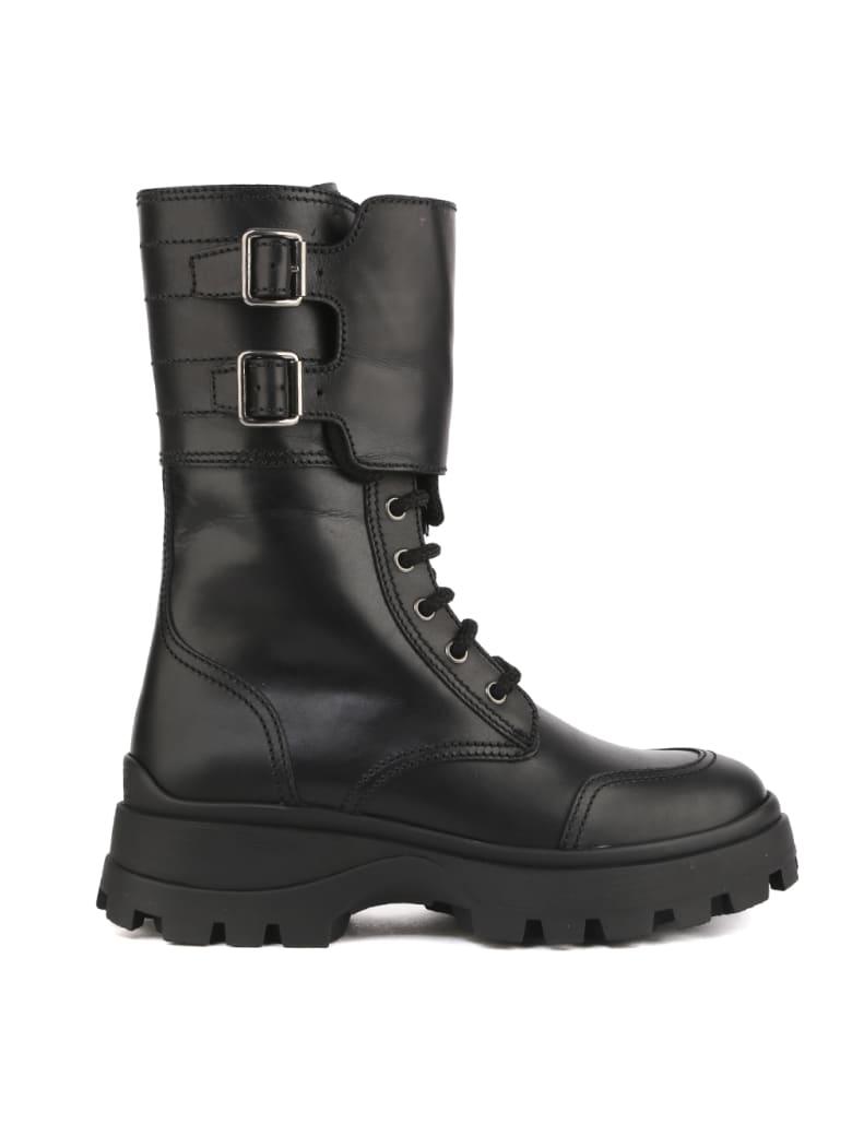 Miu Miu Mid-calf Buckle Strap Boots - Black