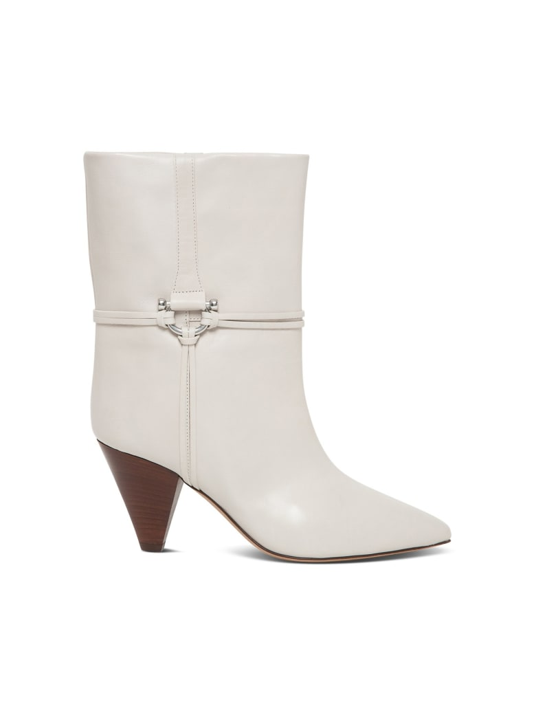 Isabel Marant Lilet Boots In Smooth Leather - White
