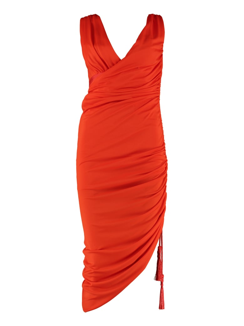 Lanvin Draped Sheath Dress - red