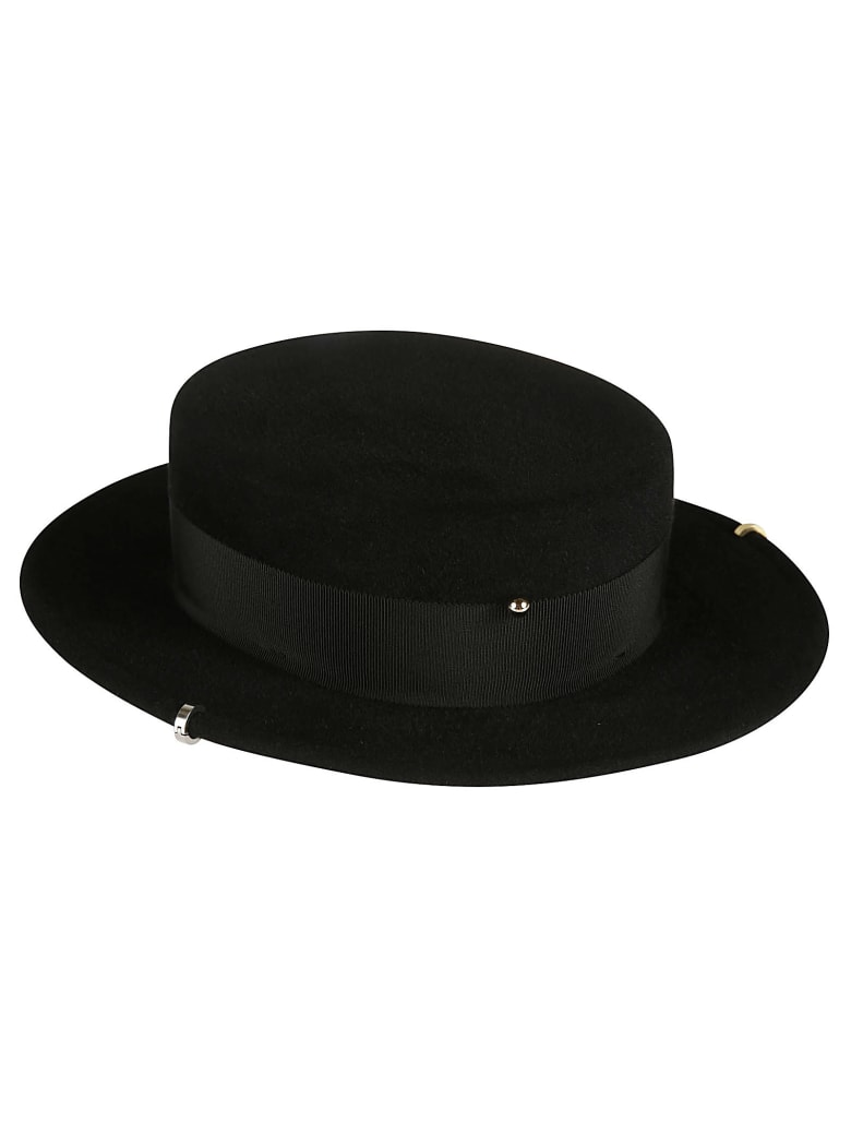 Ruslan Baginskiy Safety Pin Embellished Hat - Black