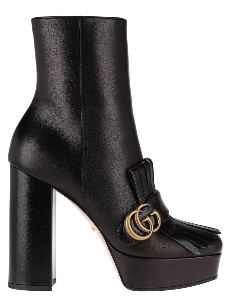 Gucci Leather Platform Ankle Boot With Fringe - BLACK
