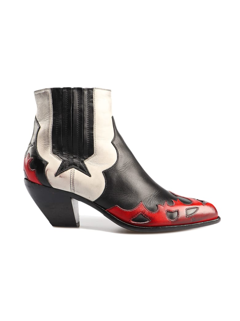 Golden Goose Boots Sunset Flowers - White/red/black