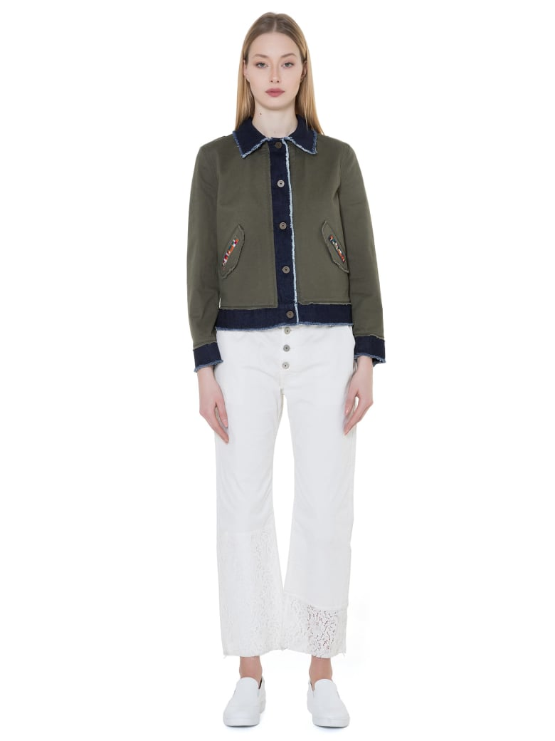 Mr & Mrs Italy Denim And Cottoncavalry Jacket For Woman - JUNGLE GREEN/BLUE DENIM