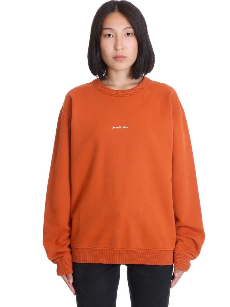Acne Studios Fierra Stamp Sweatshirt In Orange Cotton - orange