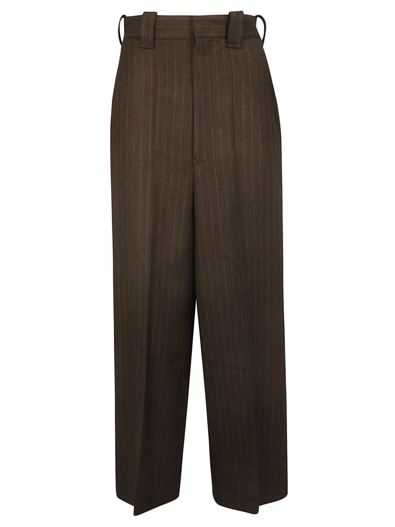 Y's Stripe Cropped Trousers - 100% Wool