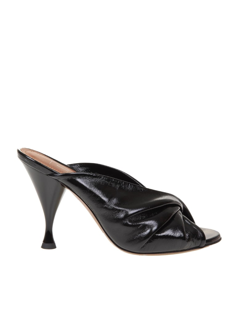 L'Autre Chose Mules In Painted Nappa - Black