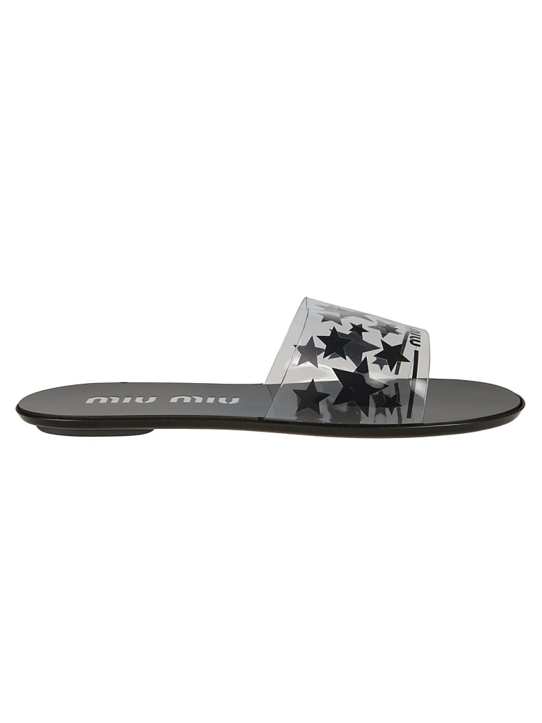 Miu Miu Star Print Sliders - Black