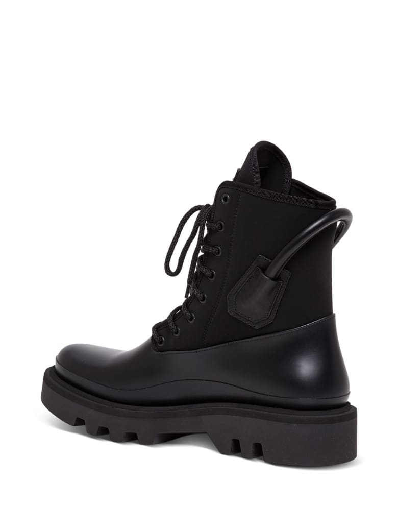 Givenchy Combat Ankle Boots In Neoprene And Satin - Black