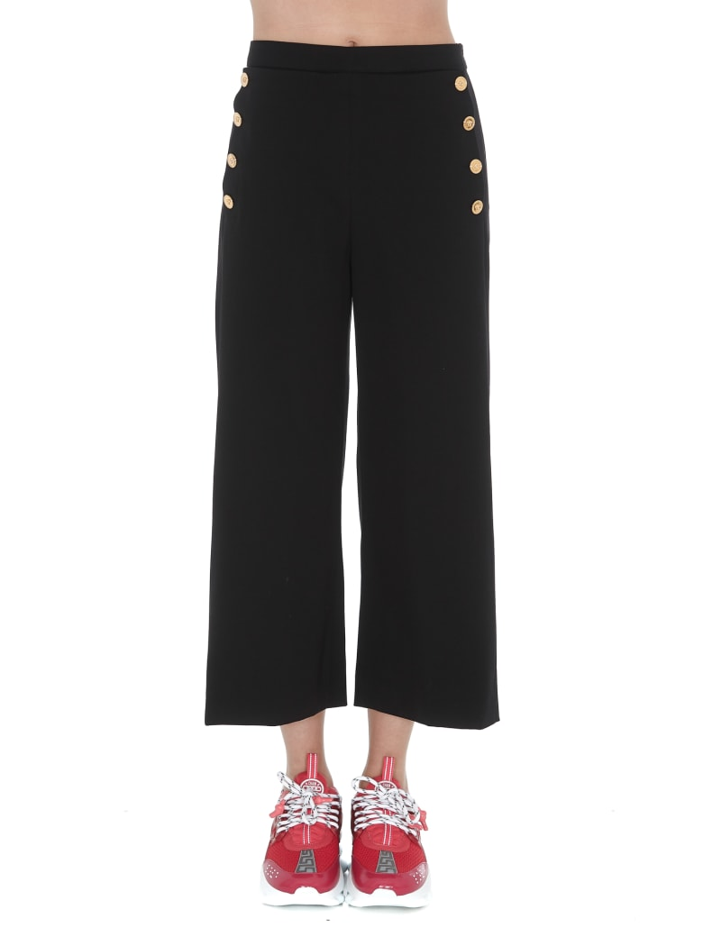 Versace Medusa Buttons Cropped Trousers - Black