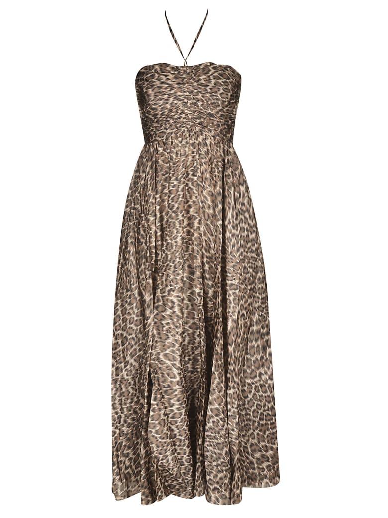Zimmermann Suraya Rouched Long Dress - KHAKI LEOPARD