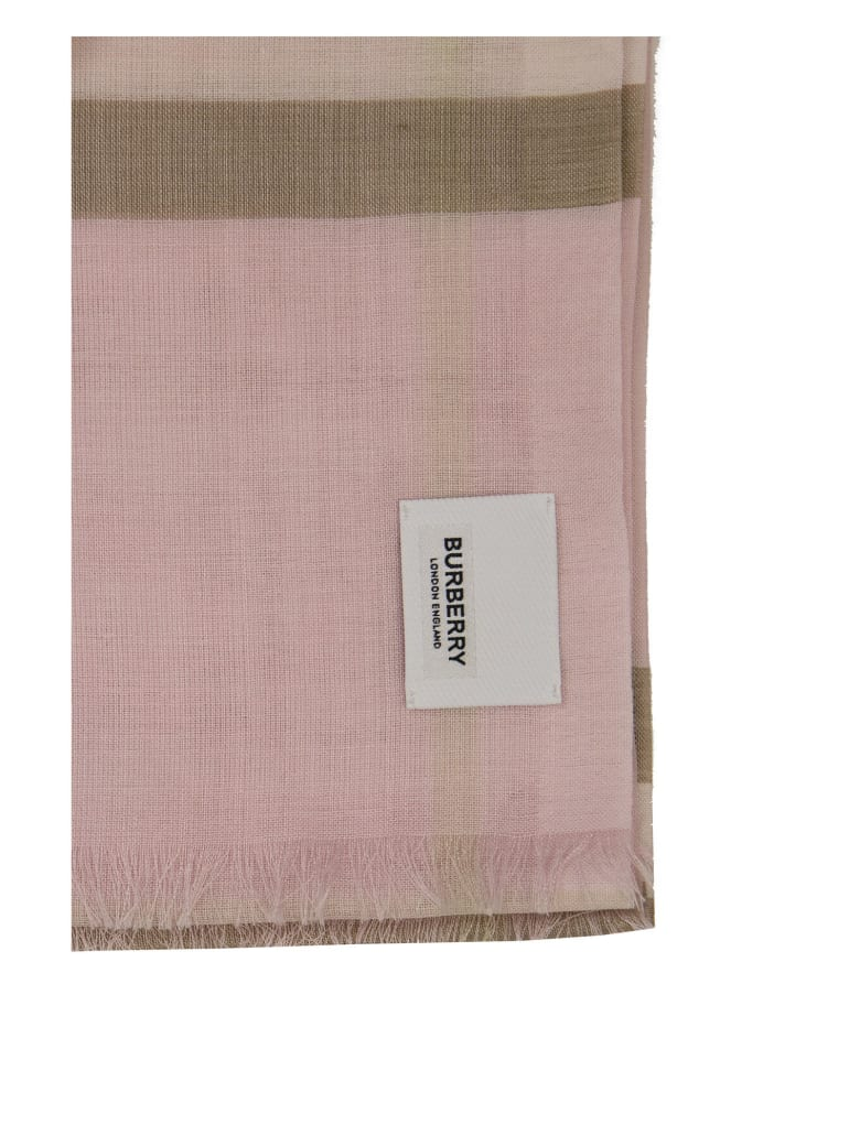 Burberry Lightweight Check Wool Silk Scarf - Beige
