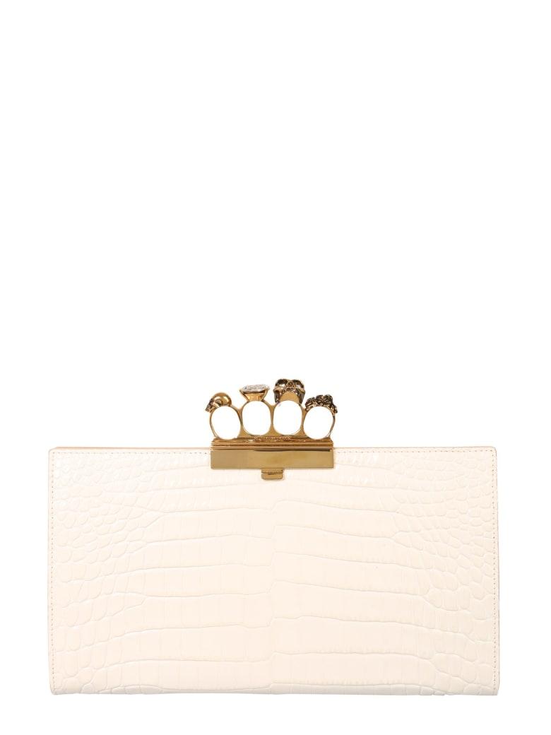 Alexander McQueen Skull Four-ring Flat Pouch - BIANCO