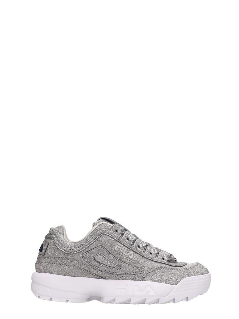 Fila Silver Glitter Distruptor Ii Sneakers - silver
