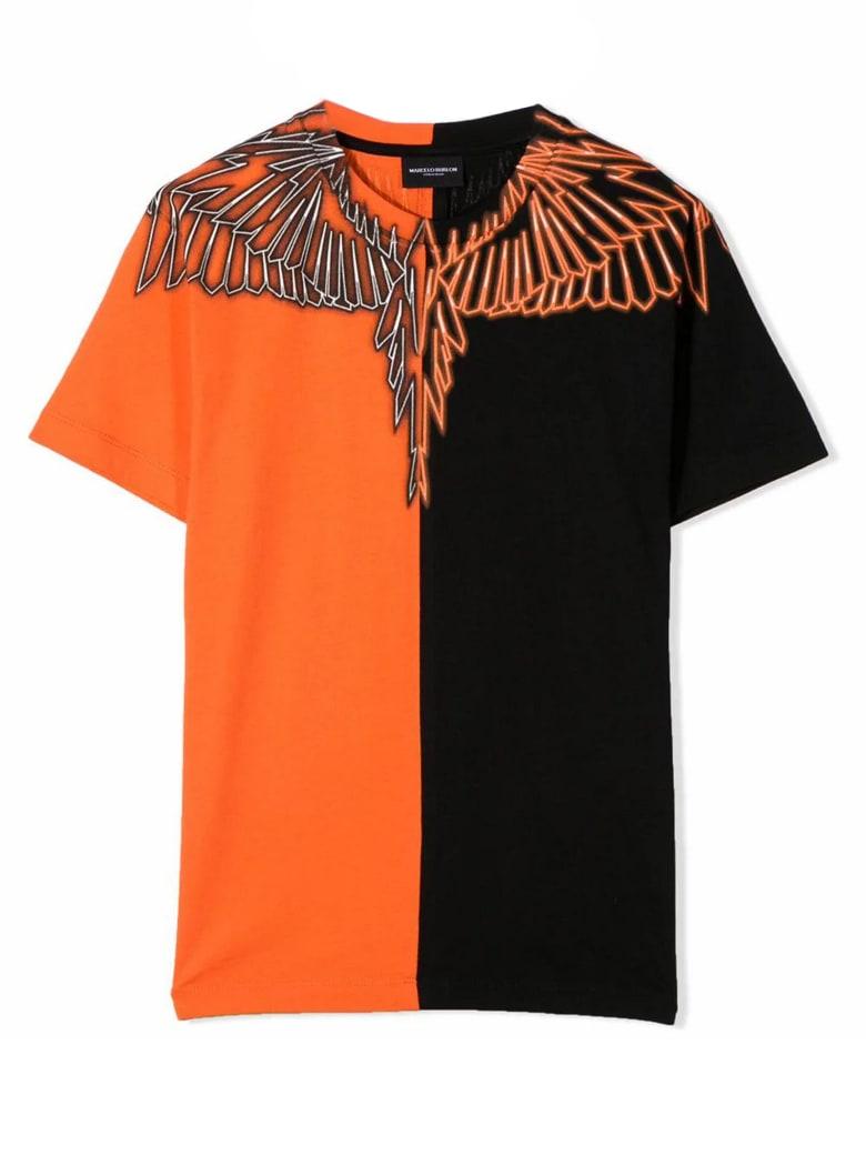 Marcelo Burlon Black And Orange Cotton T-shirt - Nero+arancio