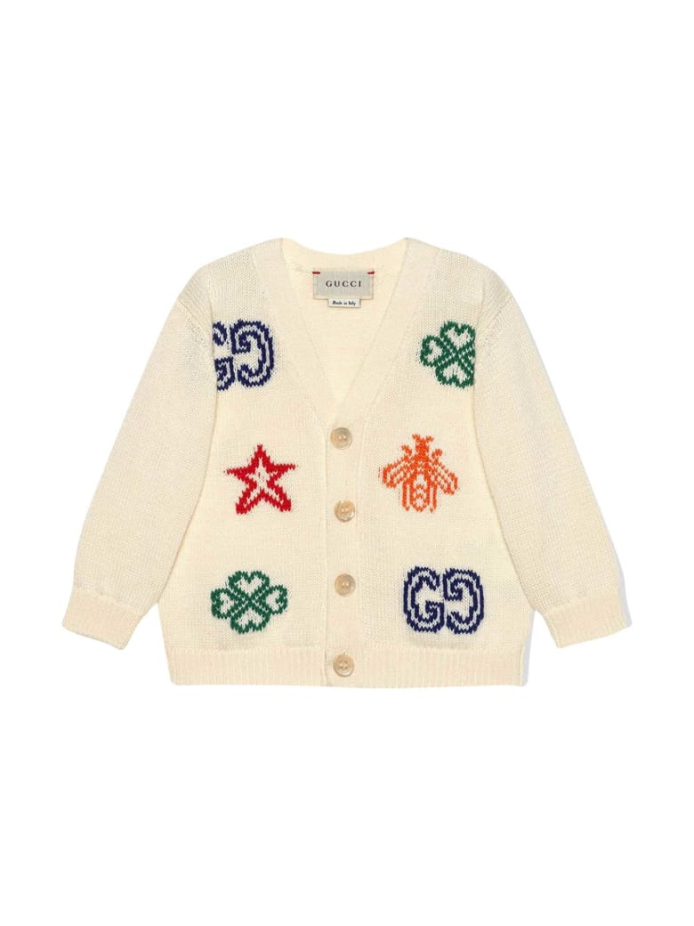 Gucci White Cardigan With Multicolor Print Young Versace - Bianco