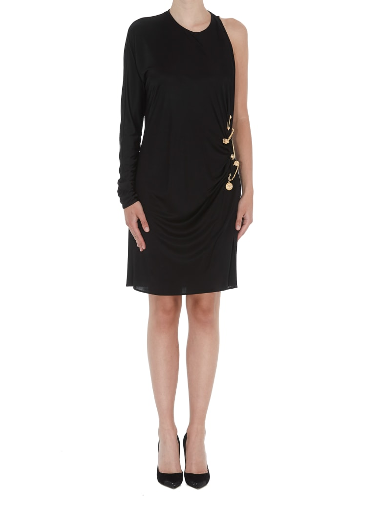 Versace Cocktail Dress With Medusa Safety Pin Details - Black