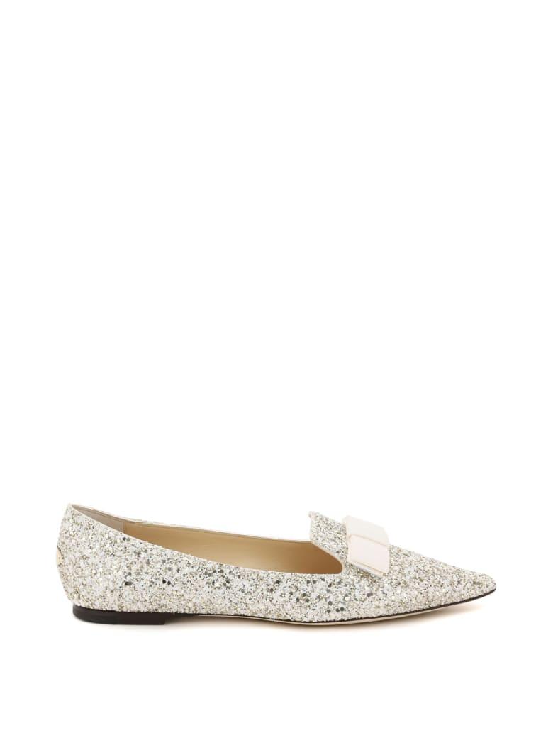 Jimmy Choo Gala Glitter Ballet Flats - MOON SAND (White)