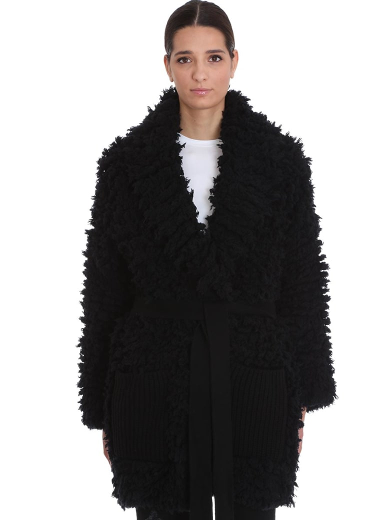 Alanui Coat In Black Wool - black