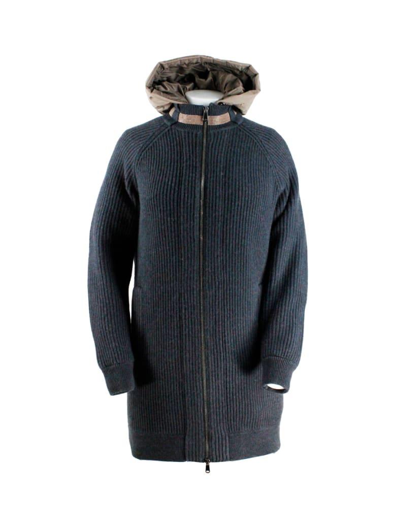 Brunello Cucinelli Cashmere Outerware + Down Vest Inside - Grigio