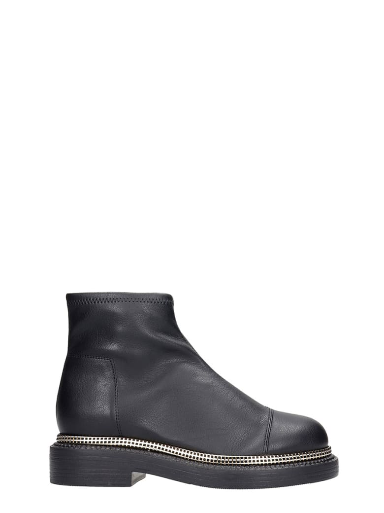 Grey Mer Combat Boots In Black Leather - black