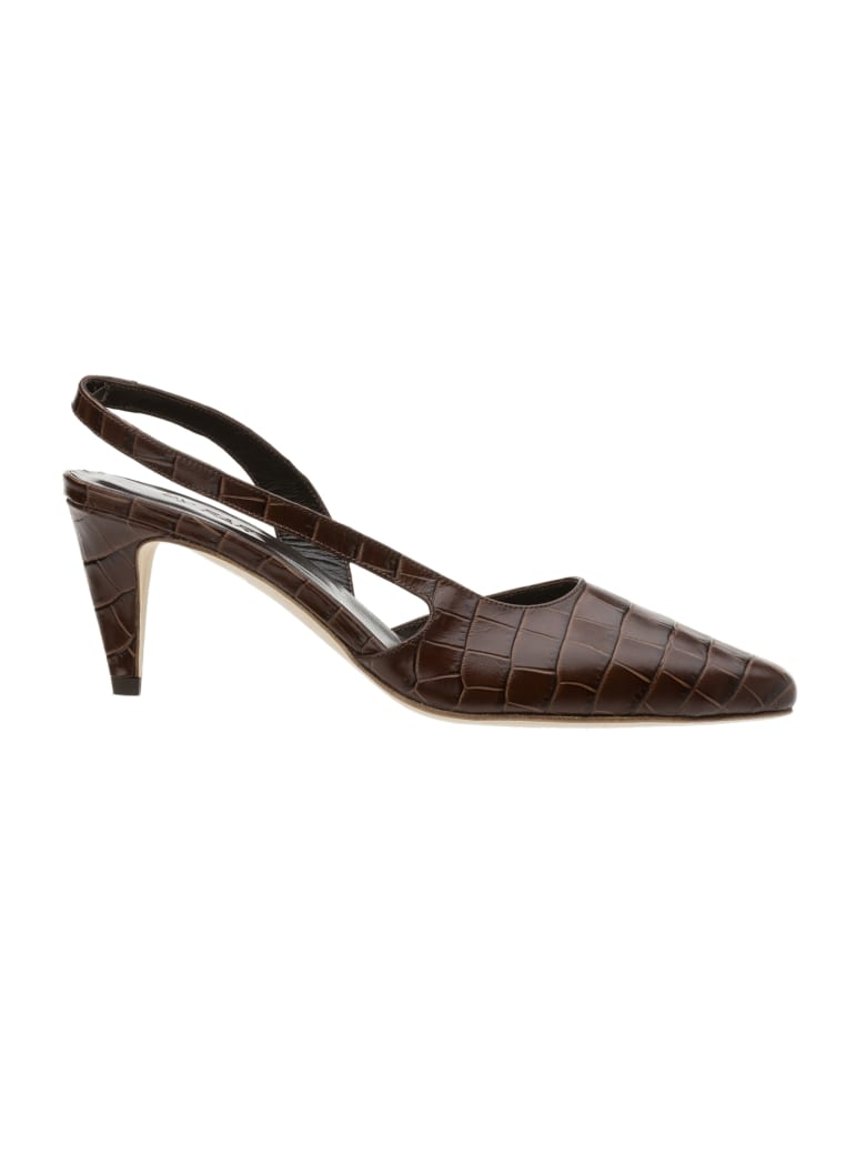 BY FAR Lauren Nutella Croco Embossed Leather - Nutella