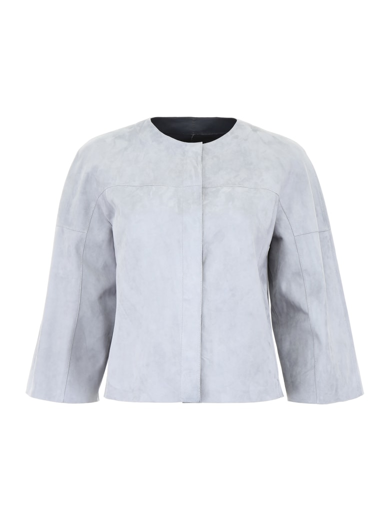 DROMe Reversible Leather Jacket - MOONLIGHT MARINE (Light blue)