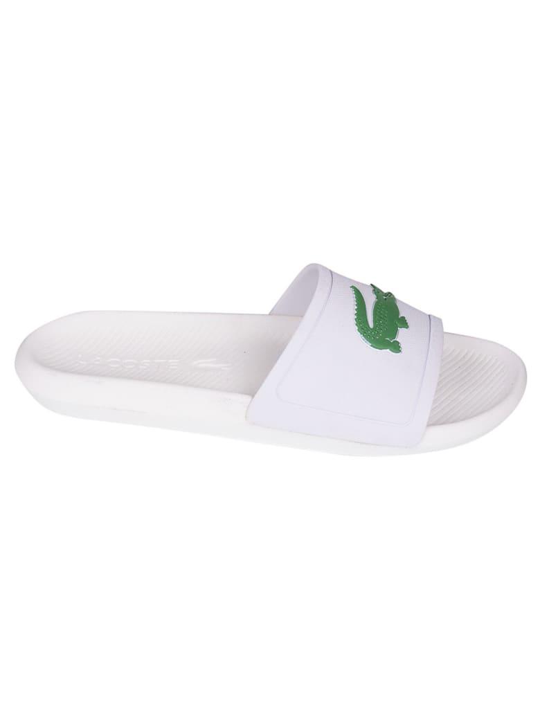 Lacoste Logo Embossed Sliders - White